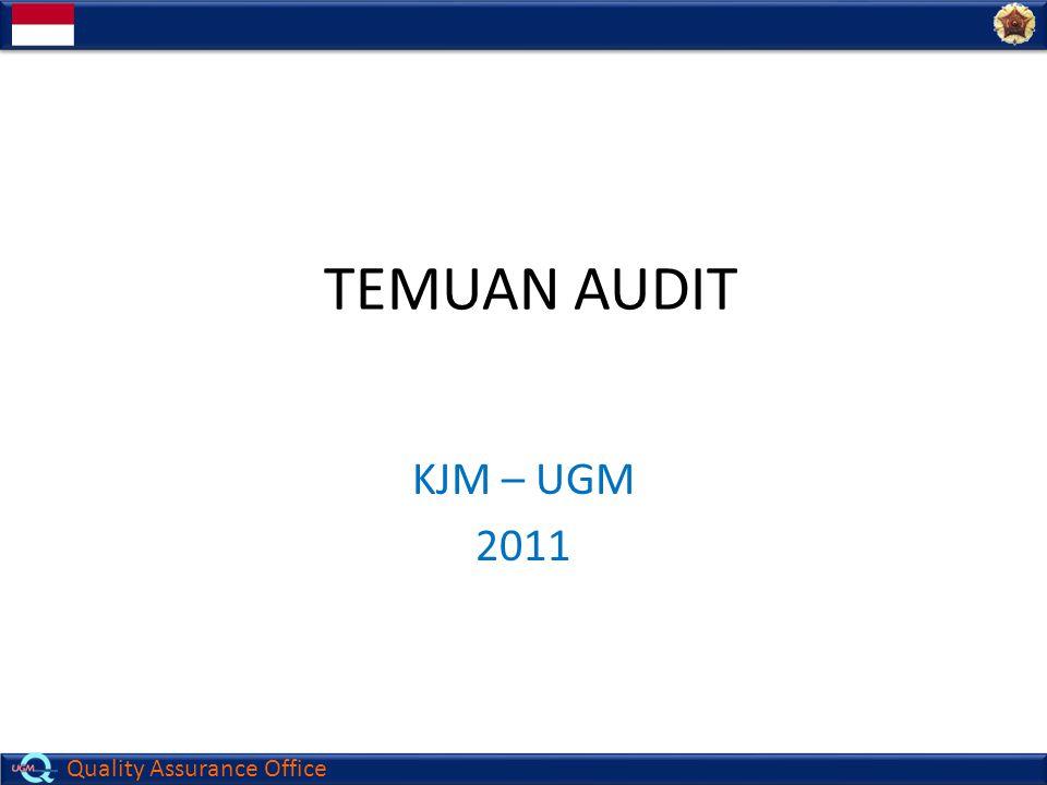 Quality Assurance Office TEMUAN AUDIT KJM – UGM 2011