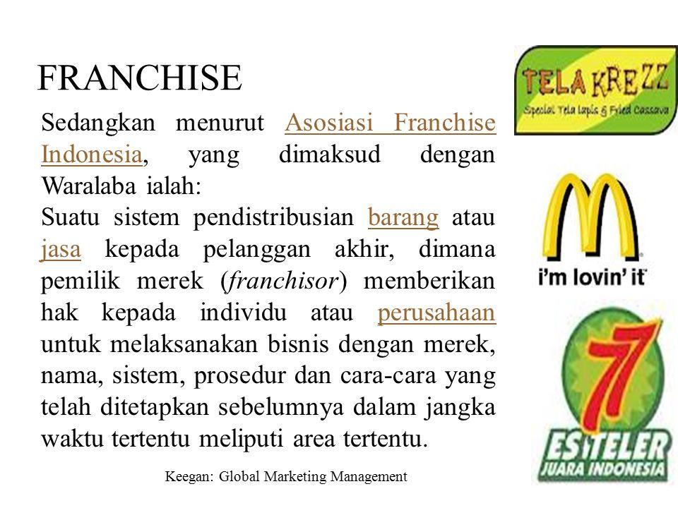 Keegan: Global Marketing Management Chapter 8 / 17 FRANCHISE Sedangkan menurut Asosiasi Franchise Indonesia, yang dimaksud dengan Waralaba ialah:Asosi