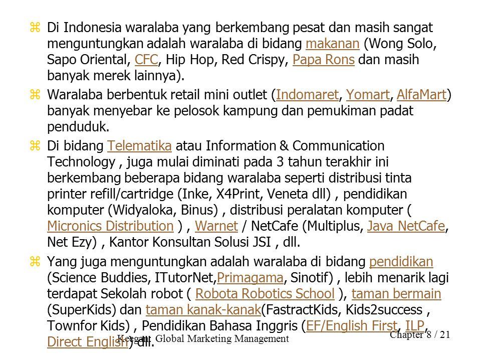 Keegan: Global Marketing Management Chapter 8 / 21 zDi Indonesia waralaba yang berkembang pesat dan masih sangat menguntungkan adalah waralaba di bida