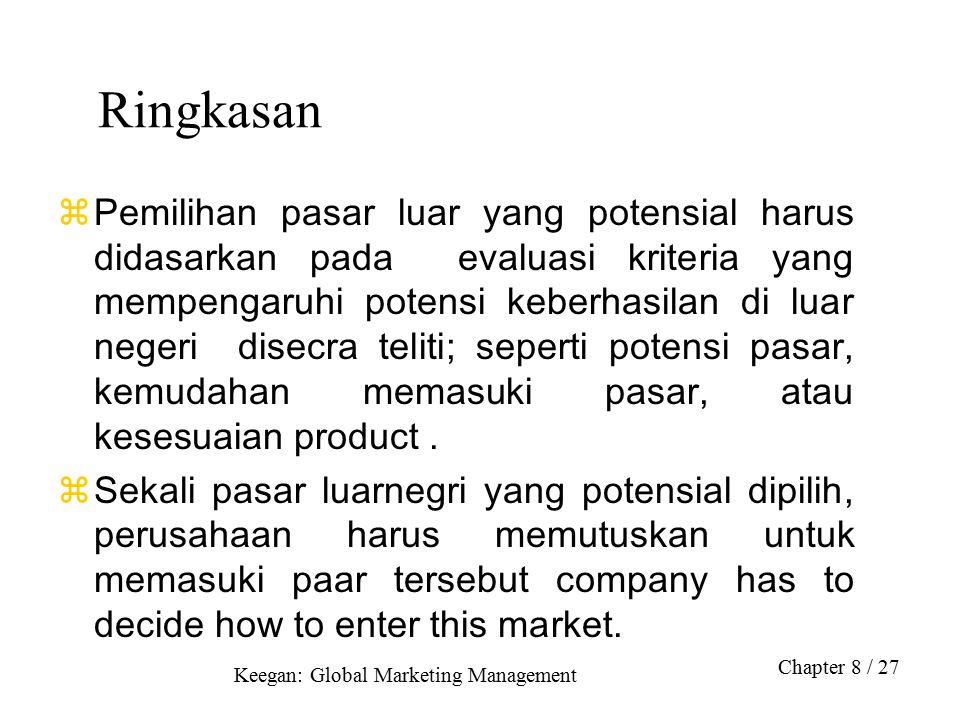 Keegan: Global Marketing Management Chapter 8 / 27 Ringkasan  Pemilihan pasar luar yang potensial harus didasarkan pada evaluasi kriteria yang mempengaruhi potensi keberhasilan di luar negeri disecra teliti; seperti potensi pasar, kemudahan memasuki pasar, atau kesesuaian product.
