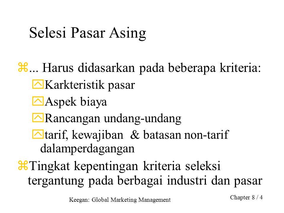 Keegan: Global Marketing Management Chapter 8 / 4 Selesi Pasar Asing z... Harus didasarkan pada beberapa kriteria: yKarkteristik pasar yAspek biaya yR