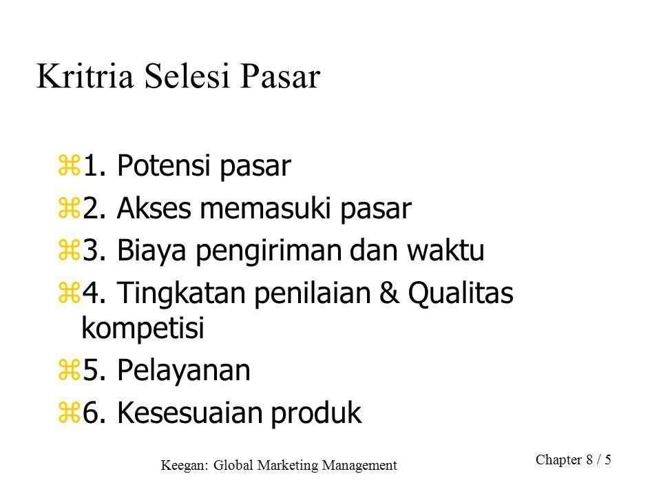 Keegan: Global Marketing Management Chapter 8 / 5 Kritria Selesi Pasar z1. Potensi pasar z2. Akses memasuki pasar z3. Biaya pengiriman dan waktu z4. T