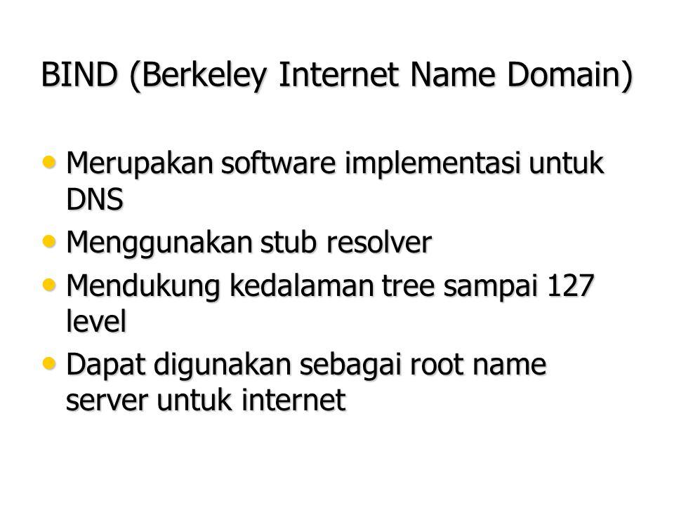 BIND (Berkeley Internet Name Domain) Merupakan software implementasi untuk DNS Merupakan software implementasi untuk DNS Menggunakan stub resolver Men