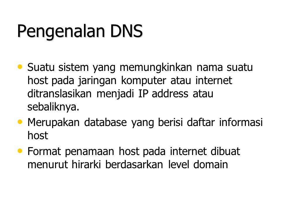 BIND (Berkeley Internet Name Domain) Merupakan software implementasi untuk DNS Merupakan software implementasi untuk DNS Menggunakan stub resolver Menggunakan stub resolver Mendukung kedalaman tree sampai 127 level Mendukung kedalaman tree sampai 127 level Dapat digunakan sebagai root name server untuk internet Dapat digunakan sebagai root name server untuk internet