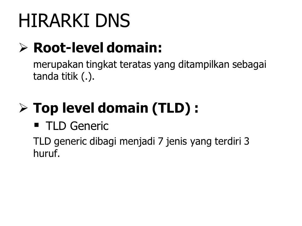   Root-level domain: merupakan tingkat teratas yang ditampilkan sebagai tanda titik (.).   Top level domain (TLD) :   TLD Generic TLD generic di