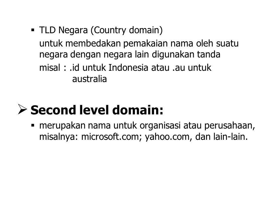   TLD Negara (Country domain) untuk membedakan pemakaian nama oleh suatu negara dengan negara lain digunakan tanda misal :.id untuk Indonesia atau.a