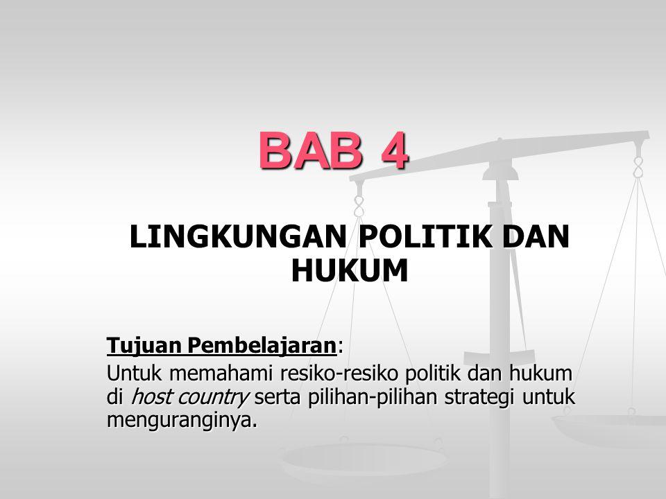 BAB 4 LINGKUNGAN POLITIK DAN HUKUM Tujuan Pembelajaran: Untuk memahami resiko-resiko politik dan hukum di host country serta pilihan-pilihan strategi