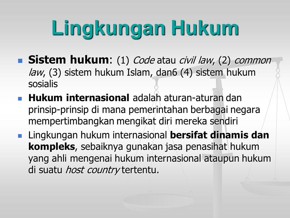 Lingkungan Hukum Sistem hukum: (1) Code atau civil law, (2) common law, (3) sistem hukum Islam, dan6 (4) sistem hukum sosialis Sistem hukum: (1) Code