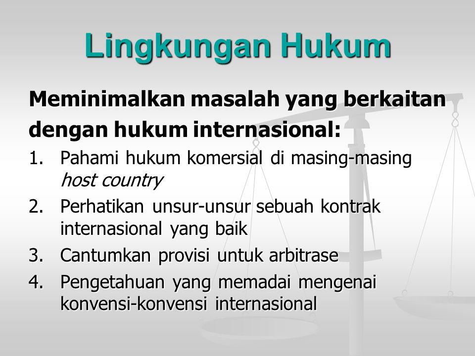 Lingkungan Hukum Meminimalkan masalah yang berkaitan dengan hukum internasional: 1.Pahami hukum komersial di masing-masing host country 2.Perhatikan u