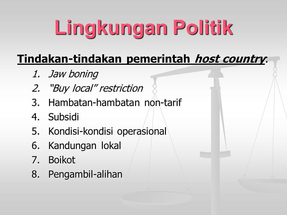 "Lingkungan Politik Tindakan-tindakan pemerintah host country: 1.Jaw boning 2.""Buy local"" restriction 3.Hambatan-hambatan non-tarif 4.Subsidi 5.Kondisi"
