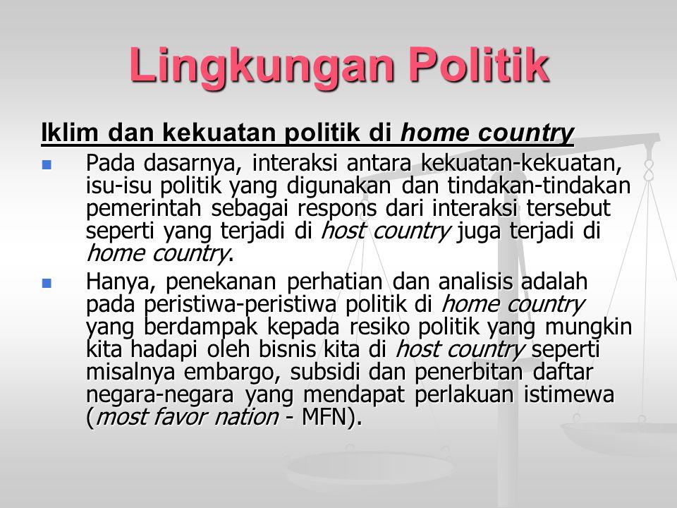 Lingkungan Politik Iklim dan kekuatan politik di home country Pada dasarnya, interaksi antara kekuatan-kekuatan, isu-isu politik yang digunakan dan ti