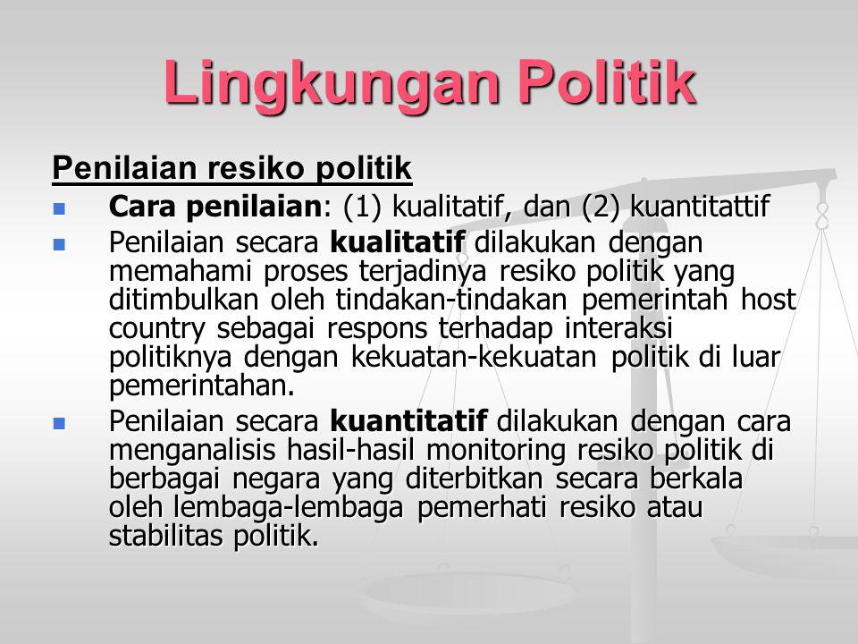 Lingkungan Politik Penilaian resiko politik Cara penilaian: (1) kualitatif, dan (2) kuantitattif Cara penilaian: (1) kualitatif, dan (2) kuantitattif