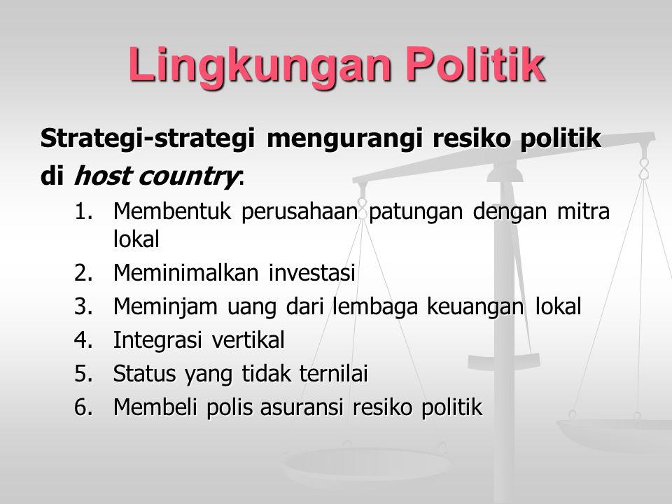 Lingkungan Politik Strategi-strategi mengurangi resiko politik di host country: 1.Membentuk perusahaan patungan dengan mitra lokal 2.Meminimalkan inve