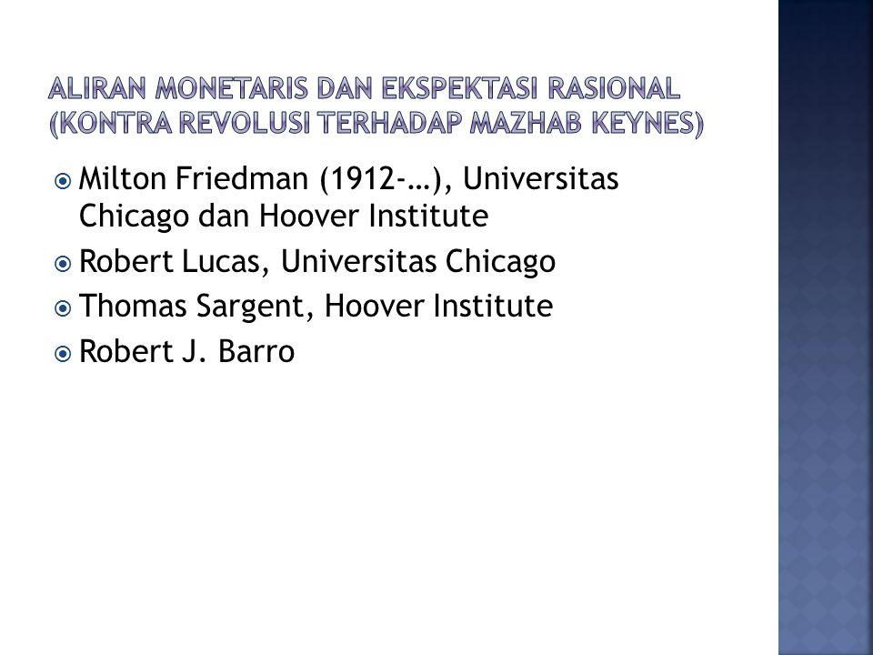  Milton Friedman (1912-…), Universitas Chicago dan Hoover Institute  Robert Lucas, Universitas Chicago  Thomas Sargent, Hoover Institute  Robert J.