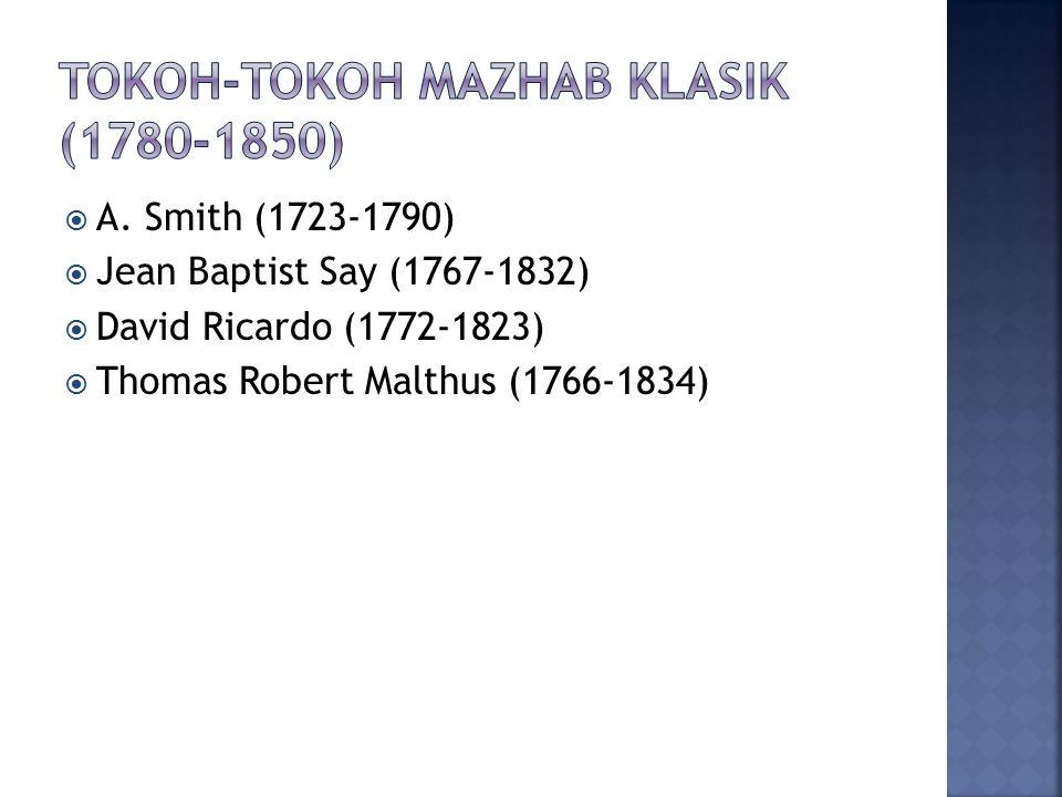  A. Smith (1723-1790)  Jean Baptist Say (1767-1832)  David Ricardo (1772-1823)  Thomas Robert Malthus (1766-1834)