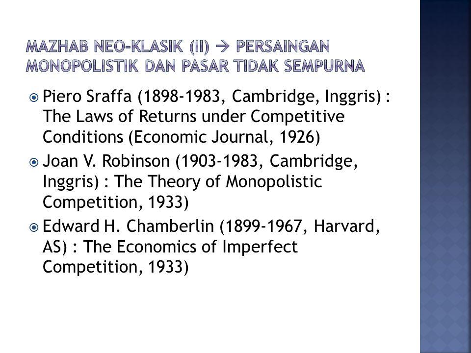  Piero Sraffa (1898-1983, Cambridge, Inggris) : The Laws of Returns under Competitive Conditions (Economic Journal, 1926)  Joan V.