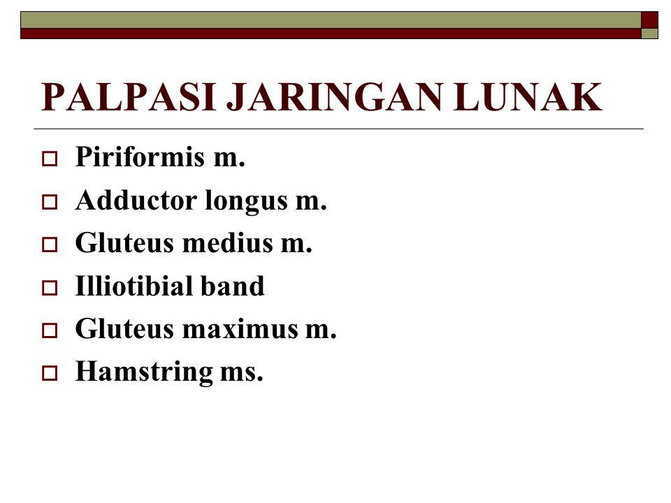 PALPASI JARINGAN LUNAK  Piriformis m.  Adductor longus m.  Gluteus medius m.  Illiotibial band  Gluteus maximus m.  Hamstring ms.