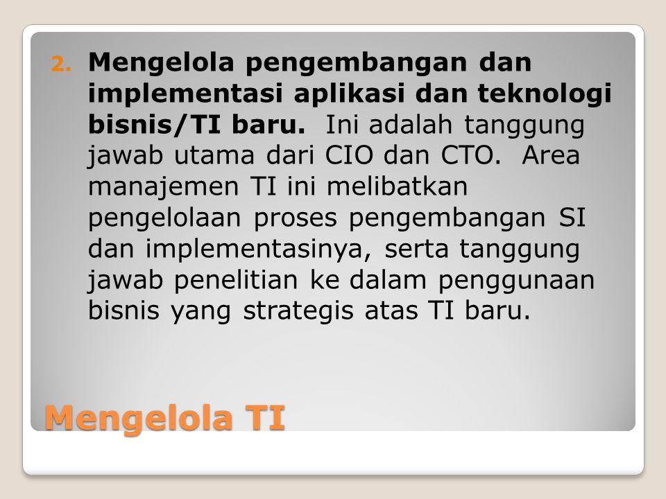 Mengelola TI 2.Mengelola pengembangan dan implementasi aplikasi dan teknologi bisnis/TI baru.
