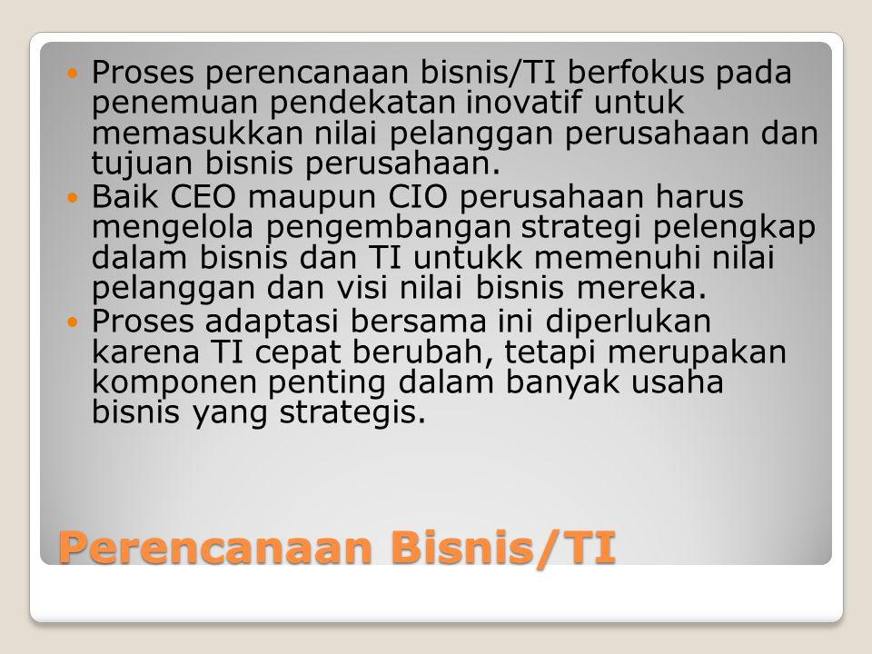 Perencanaan Bisnis/TI Proses perencanaan bisnis/TI berfokus pada penemuan pendekatan inovatif untuk memasukkan nilai pelanggan perusahaan dan tujuan bisnis perusahaan.