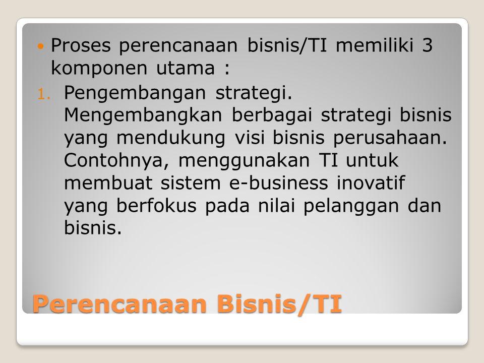 Perencanaan Bisnis/TI Proses perencanaan bisnis/TI memiliki 3 komponen utama : 1.