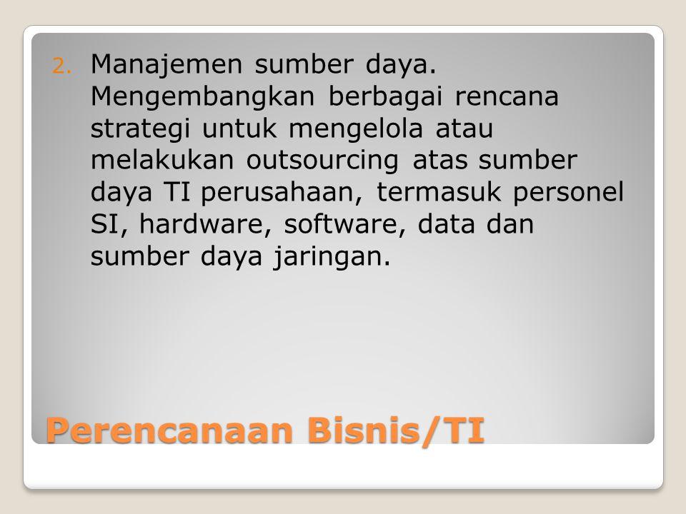 Perencanaan Bisnis/TI 2.Manajemen sumber daya.