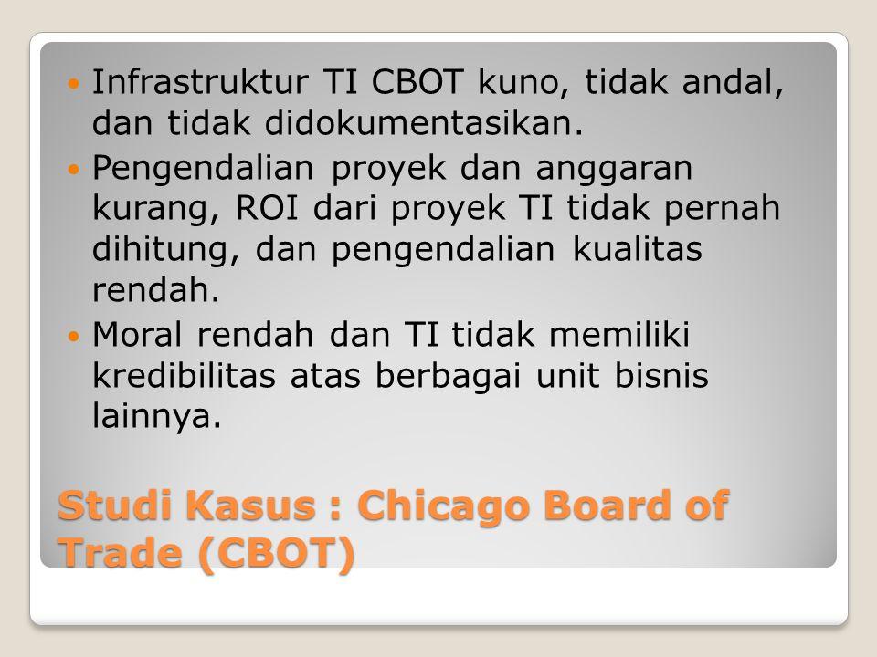 Studi Kasus : Chicago Board of Trade (CBOT) Infrastruktur TI CBOT kuno, tidak andal, dan tidak didokumentasikan.