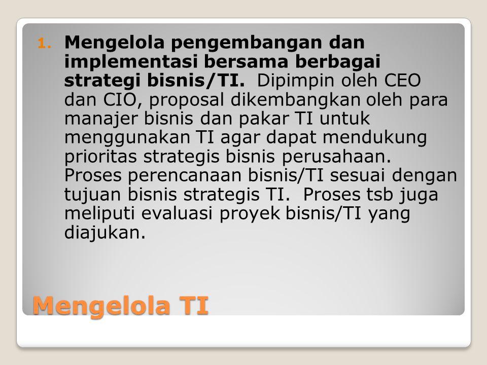 Mengelola TI 1.Mengelola pengembangan dan implementasi bersama berbagai strategi bisnis/TI.