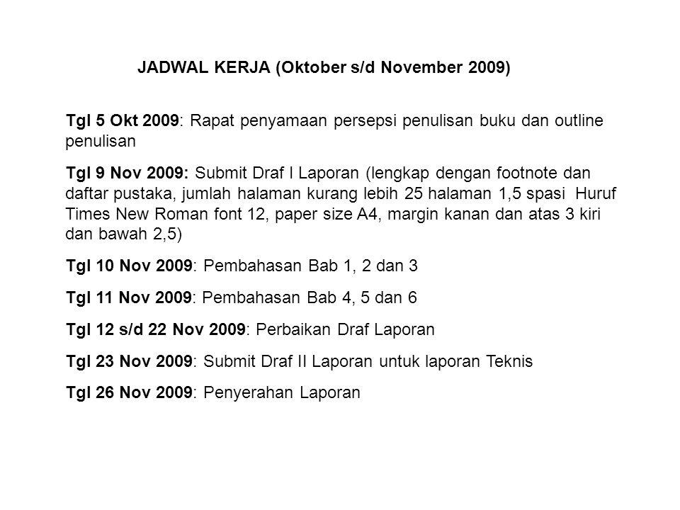 JADWAL KERJA (Oktober s/d November 2009) Tgl 5 Okt 2009: Rapat penyamaan persepsi penulisan buku dan outline penulisan Tgl 9 Nov 2009: Submit Draf I L