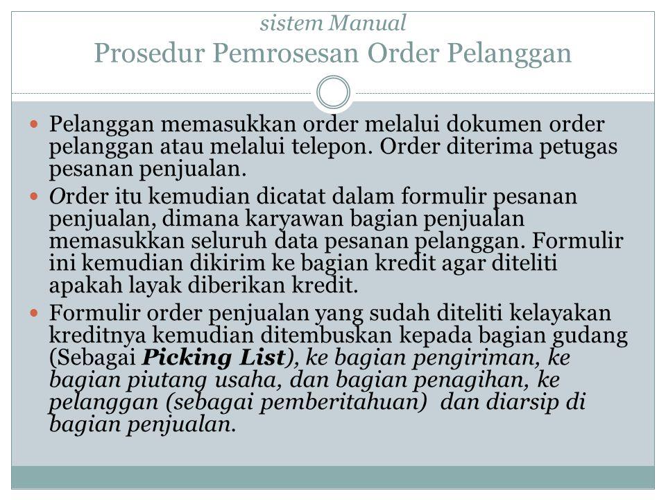 Pelanggan memasukkan order melalui dokumen order pelanggan atau melalui telepon.