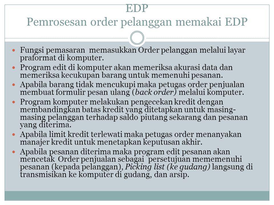 EDP Pemrosesan order pelanggan memakai EDP Fungsi pemasaran memasukkan Order pelanggan melalui layar praformat di komputer.