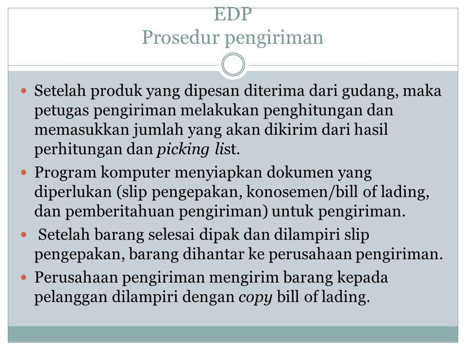 EDP Prosedur pengiriman Setelah produk yang dipesan diterima dari gudang, maka petugas pengiriman melakukan penghitungan dan memasukkan jumlah yang akan dikirim dari hasil perhitungan dan picking list.
