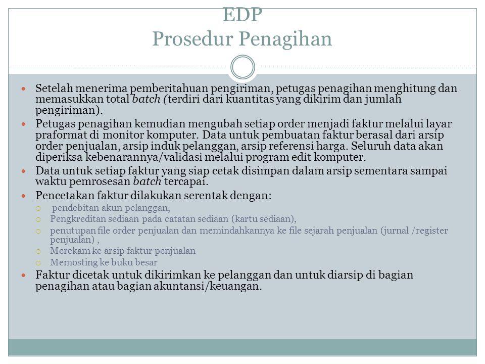 EDP Prosedur Penagihan Setelah menerima pemberitahuan pengiriman, petugas penagihan menghitung dan memasukkan total batch (terdiri dari kuantitas yang dikirim dan jumlah pengiriman).