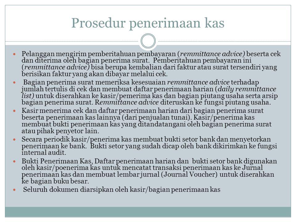 Prosedur penerimaan kas Pelanggan mengirim pemberitahuan pembayaran (remmittance advice) beserta cek dan diterima oleh bagian penerima surat.