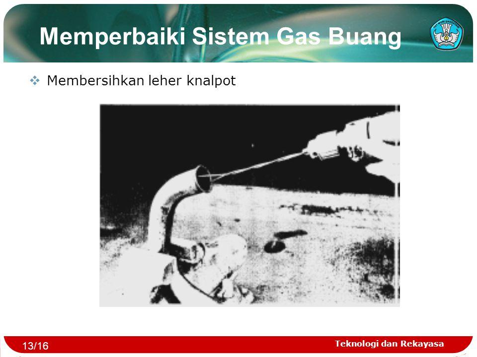 Teknologi dan Rekayasa Memperbaiki Sistem Gas Buang  Membersihkan leher knalpot 13/16