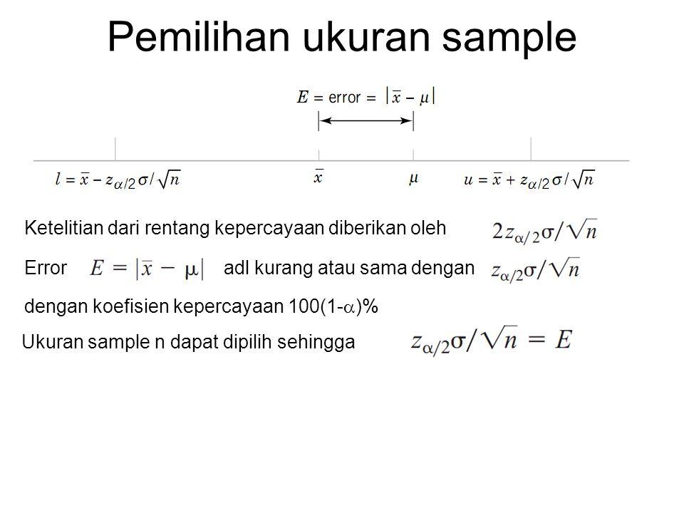 Contoh Pada contoh sebelumnya, jika kita ingin menentukan berapa sample baja pada suhu 60ºC yang dibutuhkan sehingga panjang rentang kepercayaan adalah 1J untuk tingkat kepercayaan 95% maka n adalah harus integer, sehingga jumlah sample yang diperlukan adalah 16 buah