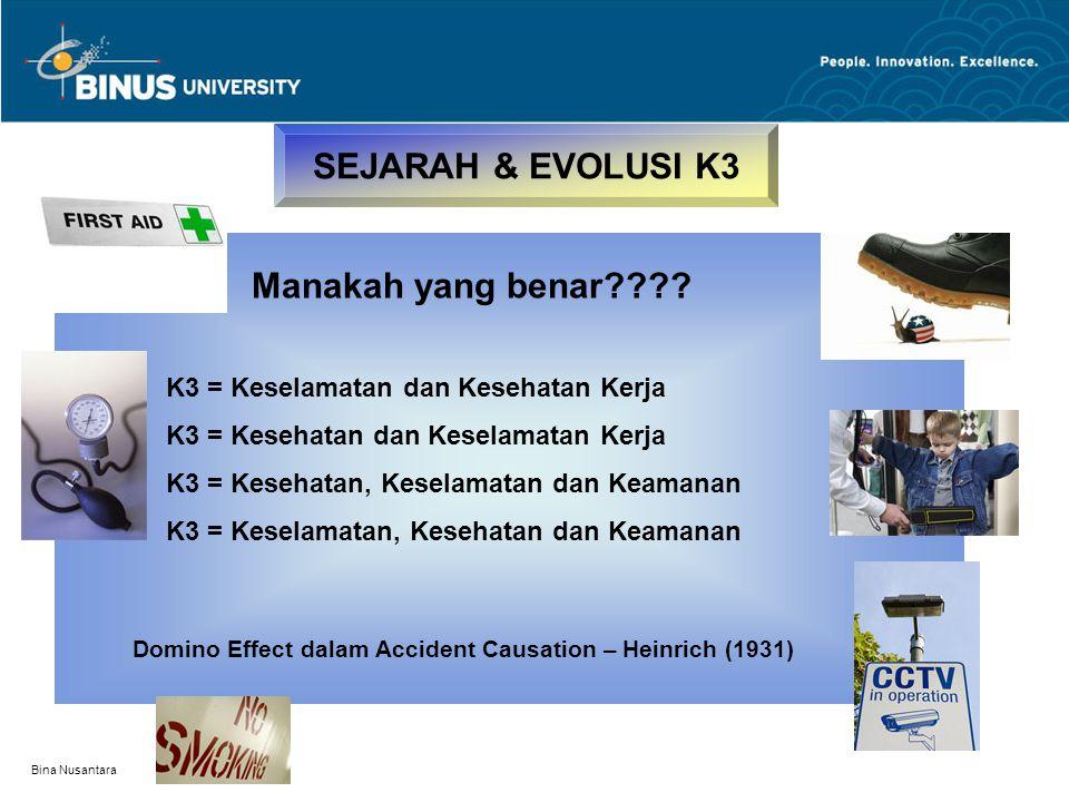 Bina Nusantara SEJARAH & EVOLUSI K3 Manakah yang benar???? K3 = Keselamatan dan Kesehatan Kerja K3 = Kesehatan dan Keselamatan Kerja K3 = Kesehatan, K