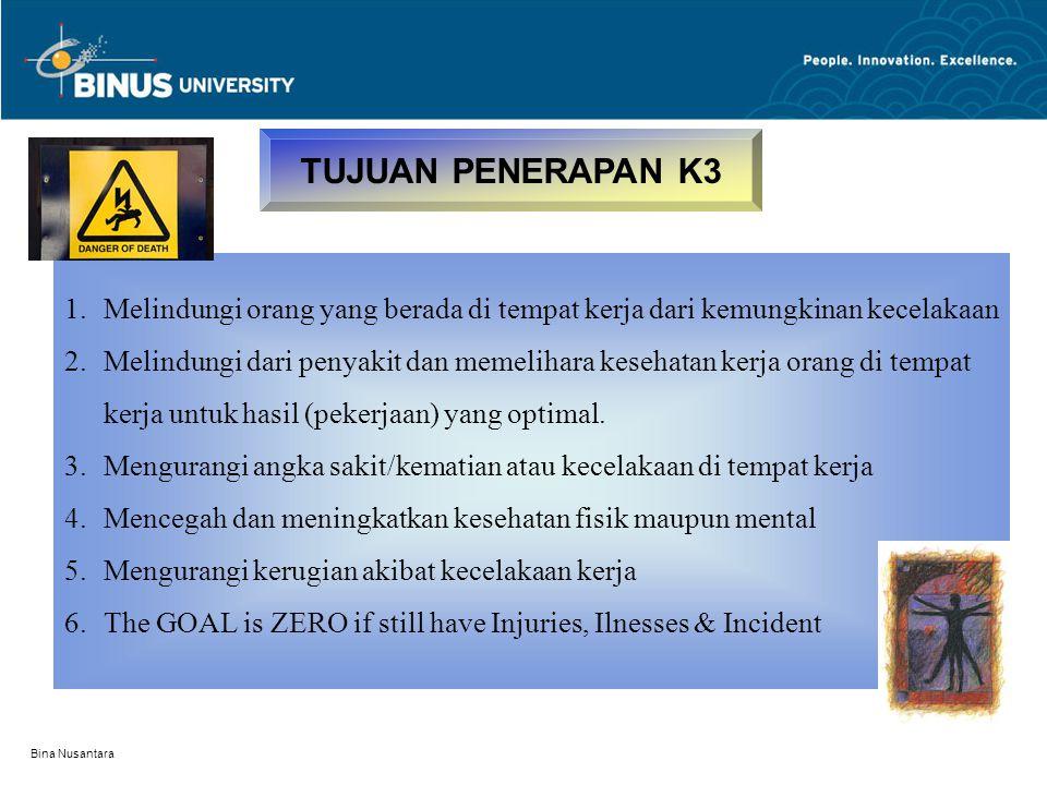 Bina Nusantara TUJUAN PENERAPAN K3 1.Melindungi orang yang berada di tempat kerja dari kemungkinan kecelakaan 2.Melindungi dari penyakit dan memelihar