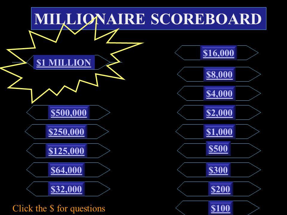 MILLIONAIRE SCOREBOARD $100 $200 $300 $500 $1,000 $2,000 $4,000 $8,000 $16,000 $32,000 $64,000 $125,000 $250,000 $500,000 $1 MILLION Click the $ for questions
