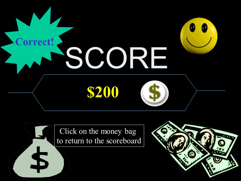 SCORE $125,000 Click on the money bag to return to the scoreboard Correct!
