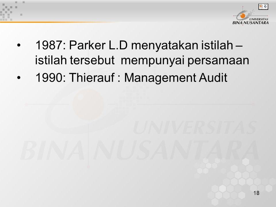 18 1987: Parker L.D menyatakan istilah – istilah tersebut mempunyai persamaan 1990: Thierauf : Management Audit