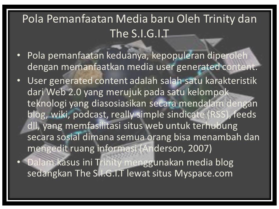 Pola Pemanfaatan Media baru Oleh Trinity dan The S.I.G.I.T Pola pemanfaatan keduanya, kepopuleran diperoleh dengan memanfaatkan media user generated content.