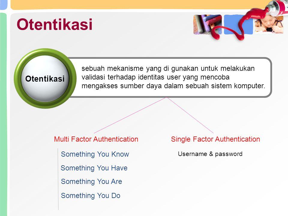 Otentikasi Single Factor Authentication Username & password sebuah mekanisme yang di gunakan untuk melakukan validasi terhadap identitas user yang mencoba mengakses sumber daya dalam sebuah sistem komputer.