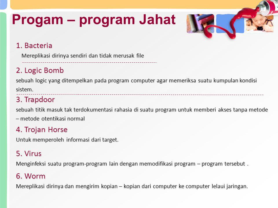 Progam – program Jahat 1. Bacteria Mereplikasi dirinya sendiri dan tidak merusak file Mereplikasi dirinya sendiri dan tidak merusak file 2. Logic Bomb