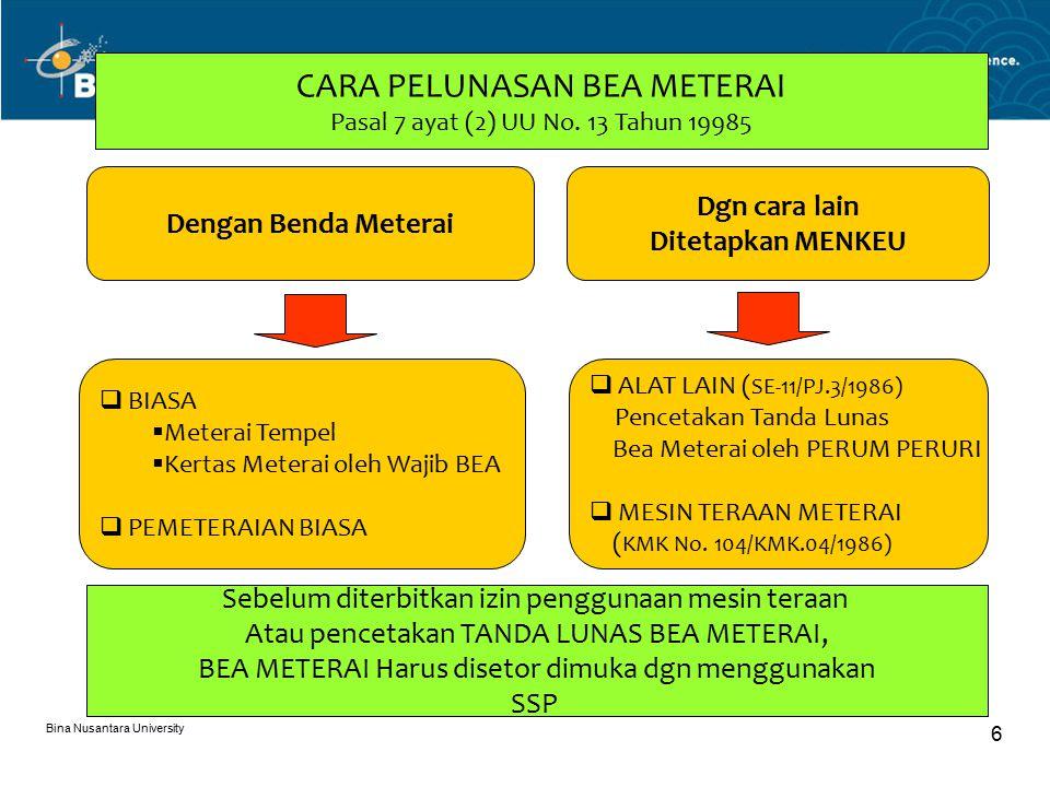 Bina Nusantara University 6 CARA PELUNASAN BEA METERAI Pasal 7 ayat (2) UU No.
