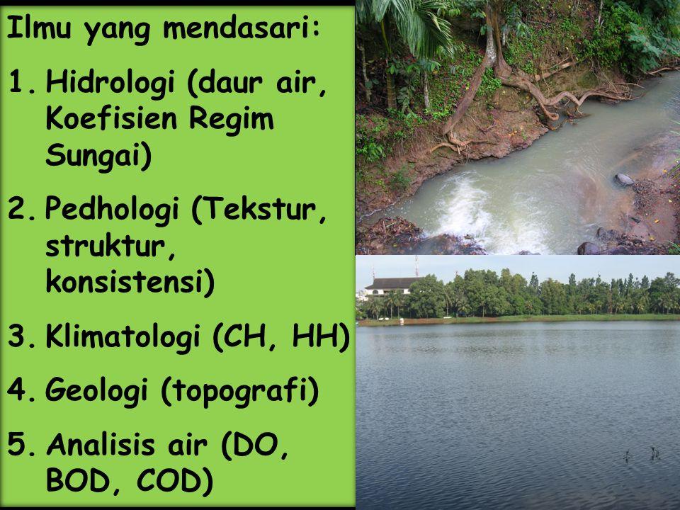 Ilmu yang mendasari: 1.Hidrologi (daur air, Koefisien Regim Sungai) 2.Pedhologi (Tekstur, struktur, konsistensi) 3.Klimatologi (CH, HH) 4.Geologi (top