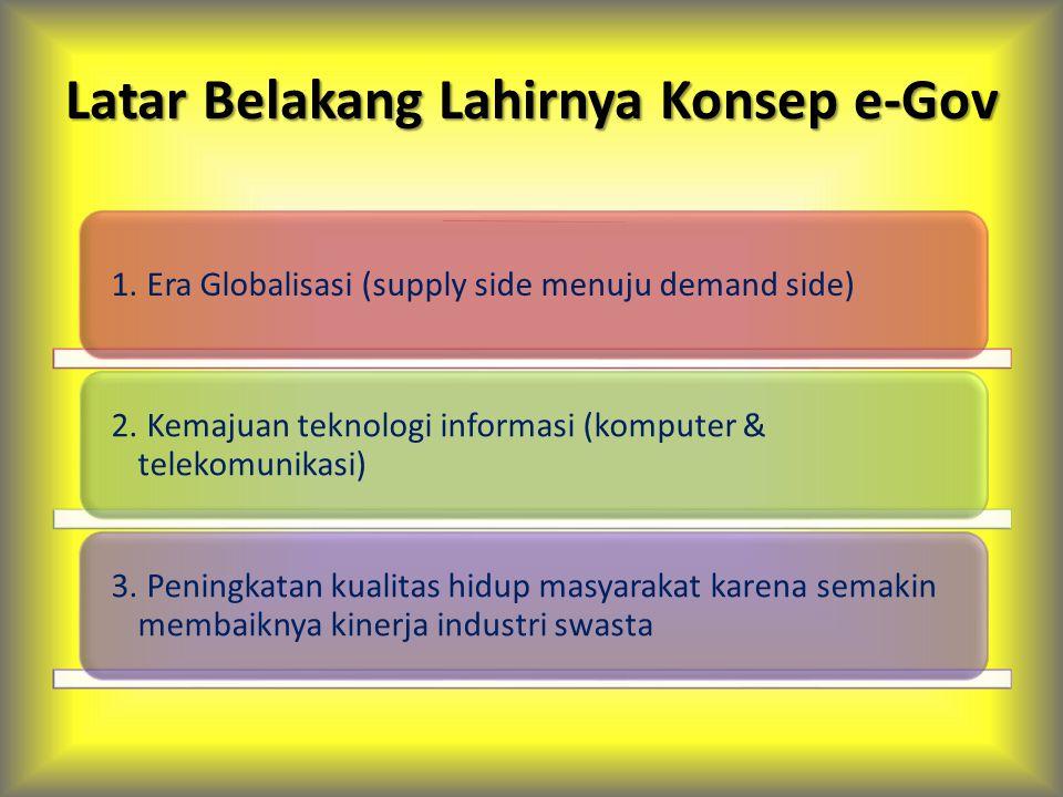 Tipe Relasi e-Gov G to C Pembuatan & perpanjangan SIM & STNK, pembayaran fiskal melalui mesin ATM, pendaftaran haji scr online, dll.