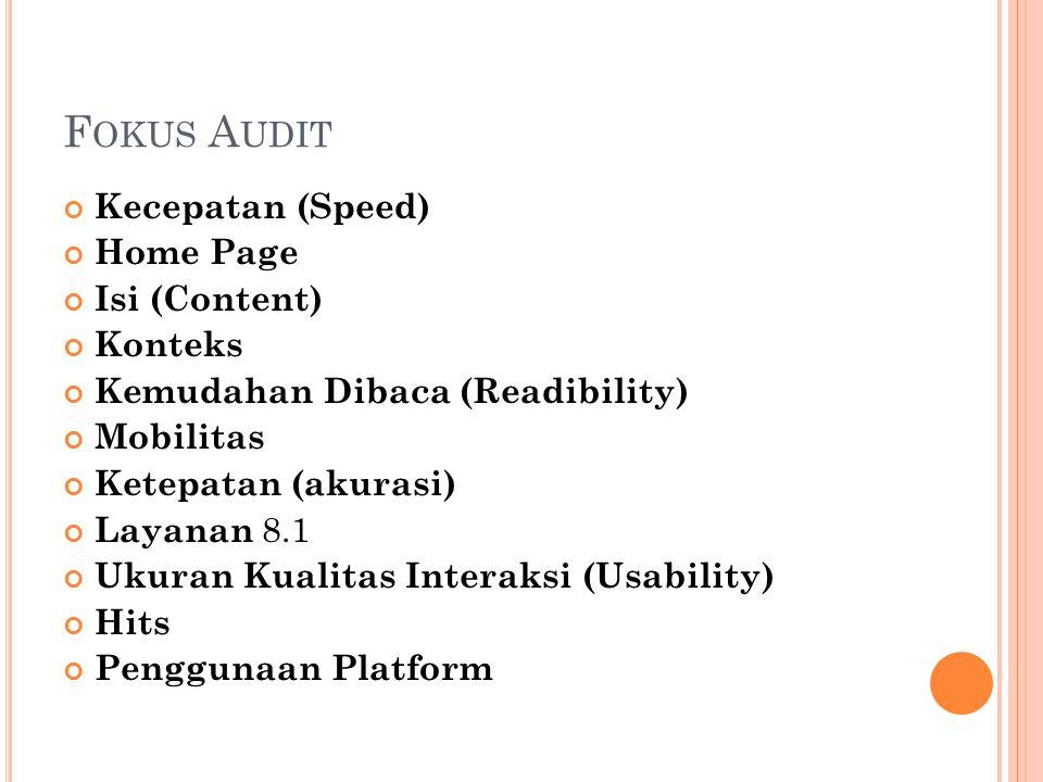 F OKUS A UDIT Kecepatan (Speed) Home Page Isi (Content) Konteks Kemudahan Dibaca (Readibility) Mobilitas Ketepatan (akurasi) Layanan 8.1 Ukuran Kualitas Interaksi (Usability) Hits Penggunaan Platform