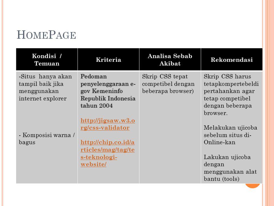 H OME P AGE Kondisi / Temuan Kriteria Analisa Sebab Akibat Rekomendasi -Situs hanya akan tampil baik jika menggunakan internet explorer - Komposisi warna / bagus Pedoman penyelenggaraan e- gov Kemeninfo Republik Indonesia tahun 2004 http://jigsaw.w3.o rg/css-validator http://chip.co.id/a rticles/mag/tag/te s-teknologi- website/ Skrip CSS tepat competibel dengan beberapa browser) Skrip CSS harus tetapkompertebeldi pertahankan agar tetap competibel dengan beberapa browser.