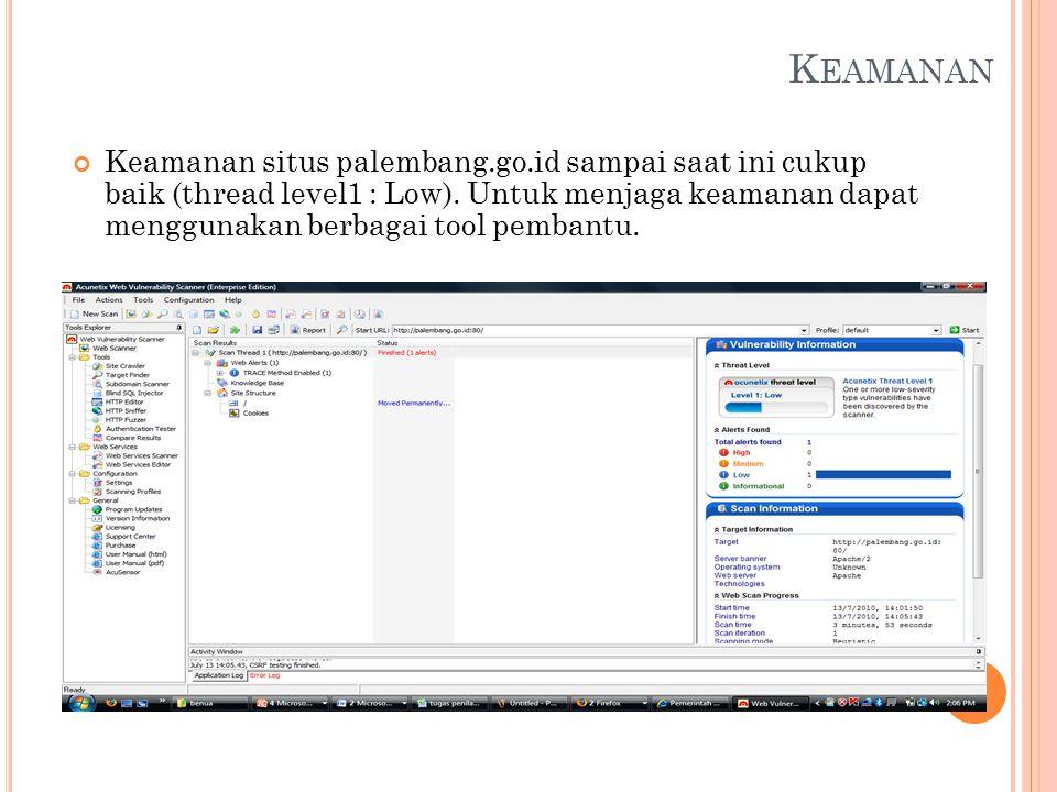 K EAMANAN Keamanan situs palembang.go.id sampai saat ini cukup baik (thread level1 : Low).