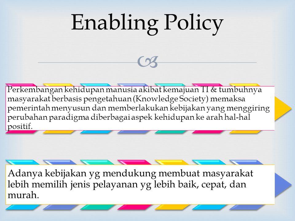 Enabling Policy Perkembangan kehidupan manusia akibat kemajuan TI & tumbuhnya masyarakat berbasis pengetahuan (Knowledge Society) memaksa pemerintah menyusun dan memberlakukan kebijakan yang menggiring perubahan paradigma diberbagai aspek kehidupan ke arah hal-hal positif.